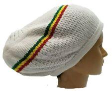 White Beret Tam Hat Rasta Slouch Beanie Crochet Cap Dreadlocks Dreads Hair M/L