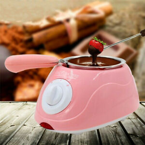 Pink Yellow Chocolate Melting Pot Electric Fondue Melter Machine Set DIY Kitchen