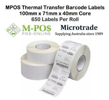 Barcode Labels 100mm x 71mm x 40mm core Thermal Transfer - Suit TLP2824, GC420T.