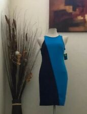 Project Runway Navy/Turquoise Two Tone Knee Length Shift Dress Size Medium