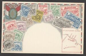 Postcard Stamp map card French Guyana in South America early