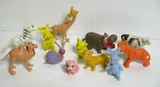 Lot of 12 Vintage Miniature Plastic Animal toys Hippo Zebra Elephant Snail Fox