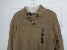Tricots St. Raphael Khaki Cotton Henley Style Sweater Size Large New w/ Tags
