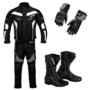 Men Motorcycle Suit Motorbike Racing Leather Boots Waterproof Suits Shoes Gloves