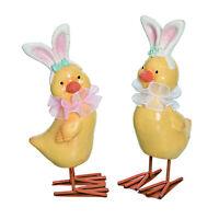 "Set/2 5"" Yellow Chicks Bunny Ears Easter Spring Figurines Vntg Decor Transpac"