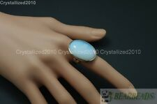 Natural Gemstones Oval Cabochon Flat Back Bead Adjustable Silver Plated Ring
