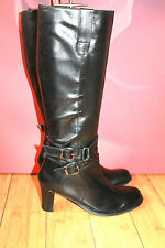 *43* BUTTERFLY long Black leather boots  EU 37