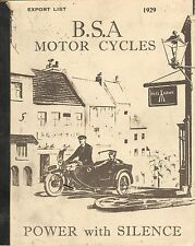 1929 BSA MOTOR CYCLES CATALOG (export list) - REPRODUCTION
