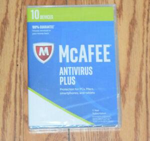 NEW McAFEE Antivirus Plus PCs Macs Smartphones Tablets 1 Year Subscription