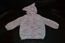 Hand knitted Hooded baby cardigan size 6 to 12 months