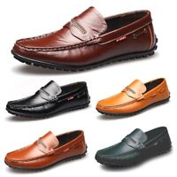 Men Genuine Leather Driving Loafers Comfort Casual Boat Shoes Penny Moccasins