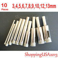 10 Pcs 3-13mm  Diamond Coated Drill Bits Set Hole Saw Cutter Tool Glass Marble