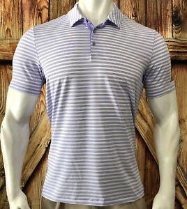 Adidas Golf Men's Large Polo Shirt Purple White Striped Polyester Short Sleeve