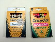1987 Crayola Metallic Effect 8 Count Crayons & 1988 Fluorescent 8 ct Crayons