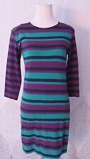 French Connection Stripe Black Purple Green Dress Sheath 3/4 Sleeve Size US 8