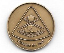 NASA PROJECT APOLLO 8 DECEMBER 21, 1968 ANTIQUE BRONZE COMMEMORATIVE MINTED COIN