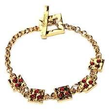 BICHE DE BERE Bracelet original couleur or perle rouge 22cm bijou