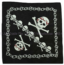 Bandana Cotton Head Scarf Wrap Black with White Big Skull Cross Bones CHAINS