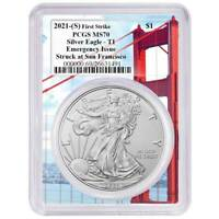 2021 (S) $1 American Silver Eagle PCGS MS70 Emergency Issue FS Golden Gate Frame