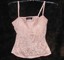 Newport News Shape FX UnderWire Pink Sheer Lace Corsette Cami Bra Top Size 34 C