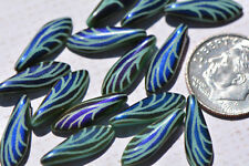 (15) Czech Glass 5x16mm Laser-etched Wing Dagger - Blue Iris/Turquoise