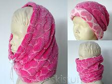 Kids girls PINK HEART SNOOD CUDDLE FLEECE neck warmer scarf hat beanie ski cowl