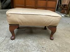 Vintage Old Cream Leather Footstool Small Queen Anne Style Legs