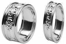 Pair Irish Handcrafted Celtic Cross Ring Wedding Set 14 k White gold 10mm & 8mm