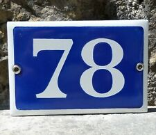 N° 78. French Antique House Number. Enamel Plate. Blue & Withe.