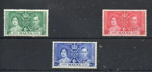 MALTA STAMPS  1937 KING GEORGE V1 CORONATION SG.214/16 MOUNTED MINT