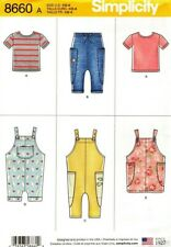 Simplicity Sewing Pattern 8660 Toddler's Knit Top Pants Overalls Pinafore 1/2-4