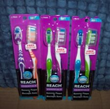 6 SOFT REACH ESSENTIALS TOOTHBRUSHES & 3 BRUSH CAPS REMOVES PLAQUE MASSAGES GUMS