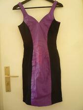 VINTAGE Robe fourreau en cuir violette & noire - Purple leather bodycon dress S