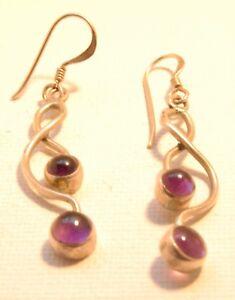 Silver and Amethyst Drop Pierced Earrings