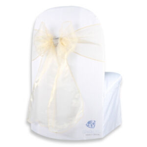 """Organza Chair Cover Bow Sash 108""""x8"""" - Gold - w/ Bow Covers Wedding Party lr"""
