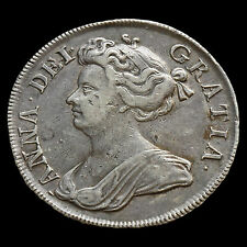 1713 Queen Anne Early Milled Silver Half Crown