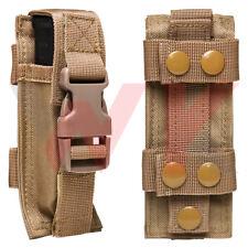 Tactical Single Pistol Double Stack Magazine Clip Pouch MOLLE PALS Belt Tan