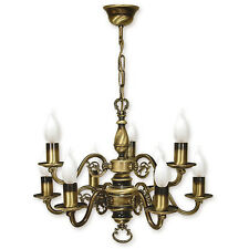 CHANDELIER 9 ARMS TRADITIONAL CEILING LIGHT - ANTIQUE BRASS FINISH - CANDLE LED