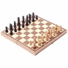 Vintage Wood Pieces Chess Set Folding Board Box Wood Hand Carved Mind Game New