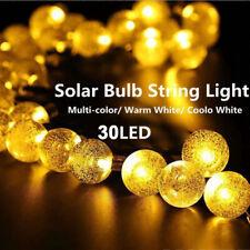 USA Waterproof Outdoor String Lights 30LED Solar Bulb Party Yard Garden Wedding