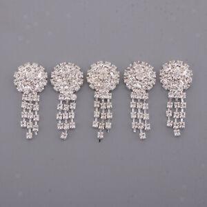 5Pcs Flower Rhinestone Buttons Flatback Wedding Scrapbooking Embellishments