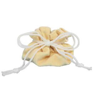 Jewelry Travel Bag Cream Velvety Suede Pouch Organizer Storage Case
