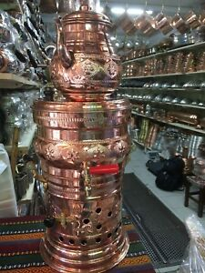 Turkish Handmade Copper Teapot Set Charcoal Samovar Double Kettle Tea Semaver