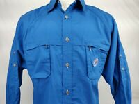 Miller Lite Beer Logo Blue L/S Vented Button Up Fishing  Shirt Men's Size XL