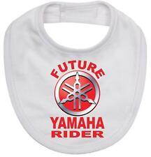BABY BIB white cotton printed with FUTURE YAMAHA RIDER on  baby bib
