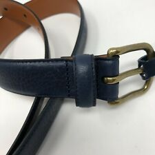 Brooks Brothers Mens Leather Belt size 42 Navy Blue Gold Buckle New