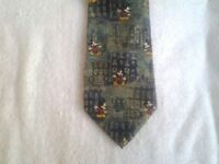 Tie Novelty Cartoon Disney Mickey Mouse & Buildings Repeat Pattern