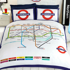 London Métro Carte Tube Housse De Couette Literie Réversible Set Double