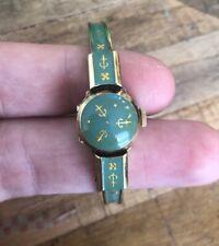 60s Caron Swiss Ladies Enemal Like - Bracelet Watch Peek-a-Boo Gold Plated AS IS
