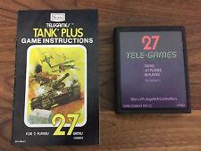 Tank Plus 27 Tele-Games Atari 2600 Works - Free Shipping - Manual Included